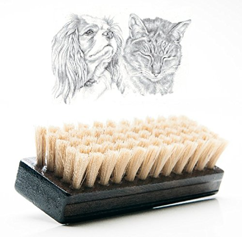 Cat Brush & Dog Brush for Short and Medium Hair, Soft Reinforced Boar Bristle to Distribute Natural Oils, Condition the Coat and to Add Gloss and Shine to it, Pet Grooming Naturally, Brown 4.25