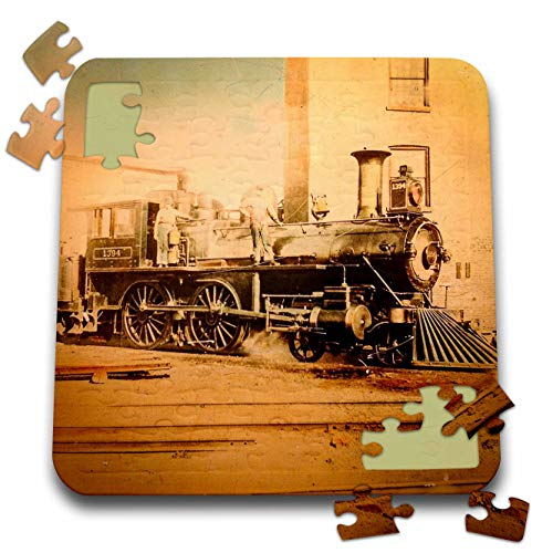 (3dRose Scenes from The Past - Magic Lantern - Locomotive Steam Engine Railroad History Vintage 1800s Hand Tinted - 10x10 Inch Puzzle (pzl_300294_2))