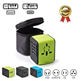Universal Travel Adapter Ease2U International Power Adapter 3xUSB,Type USB-C,Worldwide AC Outlet Plugs Smart Protection Laptop Cell Phone Pad Adapter AU Asia 200+(Black) (Green)