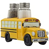 Decorative Model School Bus Glass Salt and Pepper Shaker Set As Display Stand Holder Figurine for Unique Restaurant Dining Room & Kitchen Table Decor or Gifts for Teachers and Bus Drivers