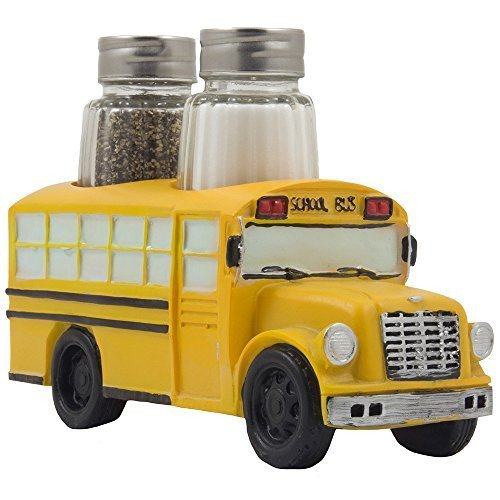 (Decorative Model School Bus Glass Salt and Pepper Shaker Set As Display Stand Holder Figurine for Unique Restaurant Dining Room & Kitchen Table Decor or Gifts for Teachers and Bus Drivers)