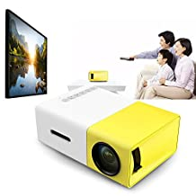 Full HD Mini Pocket Projector with Remote Control, Fashionable Portable YG - 300 LCD Projector 1920 x 1080 Resolution for Movable Home Cinema Theater Video Movie Entertainment Support AV / CVBS / HDMI / USB Input