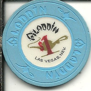 $1 aladdin nevada limited obsolete las vegas casino chip blue