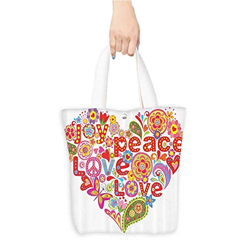 Hope Bags Good Leather - Tote Shopping Handbags With Hippie Floral Heart Spring Joy Wish Hope Messag Good permeability W11 x H11 x D3 INCH