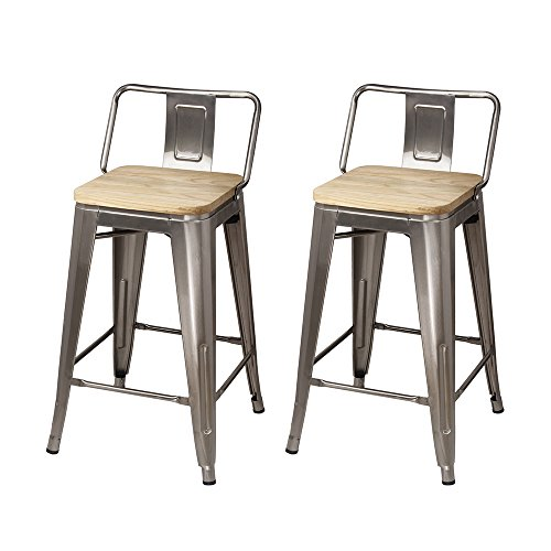 Bistro Light Island (GIA Low Back Metal Barstool with Light Wooden Seat 24