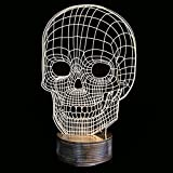 SHENNOSI 3D LED Lamp - Art Sculpture Lights Up in Produces Unique Lighting Effects and 3D visualization Amazing Optical Illusion (Skull)