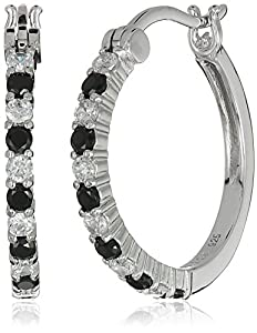 Rhodium Plated Sterling Silver Alternating Round Black and White Cubic Zirconia 2mm Hoop Earrings