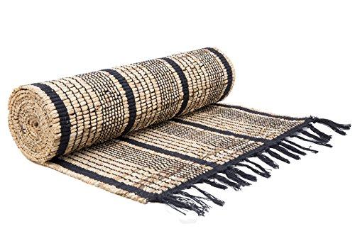 ShalinIndia Handloom Woven Eco Friendly Banana Rope Stripe Table Runner Tassle 13 X 72 Inch Kitchen Dining Home Décor A Cotton ()