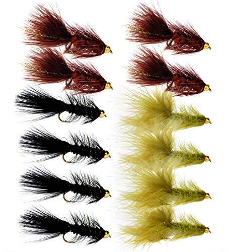 (Woolly Bugger Trout Fly Fishing Streamer Assortment (Dozen Pack))