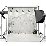 SJOLOON 10x10ft White Brick Wall Vinyl Photography Backdrop Customized Photo Background Studio Prop JLT-9205