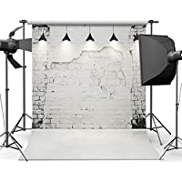 SJOLOON 10x10ft White Brick Wall Vinyl Photography Backdrop Customized Photo Background Studio Prop JLT-9205