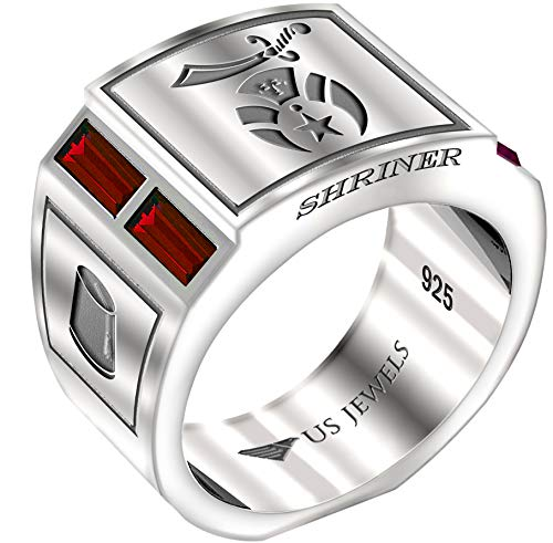 US Jewels And Gems Men's 0.925 Sterling Silver Simulated Ruby Shriner Freemason Masonic Ring, Size - Mens Ruby Silver Simulated Sterling