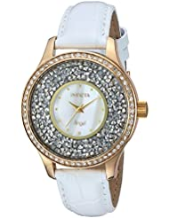 Invicta Womens Angel Quartz Stainless Steel and Leather Casual Watch, Color:White (Model: 24589)