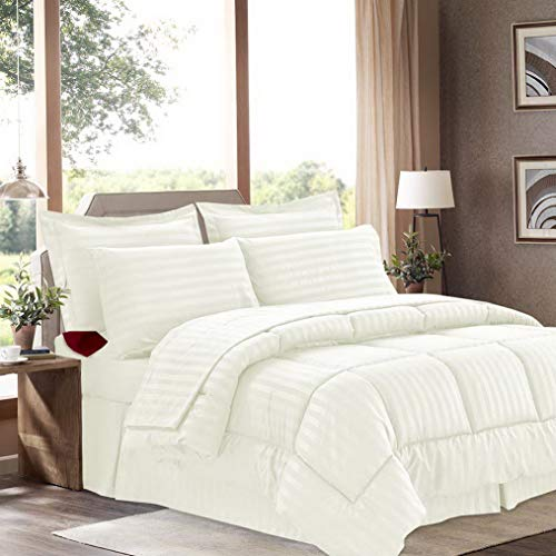Hemau Premium New Soft 8 Piece Bed in A Bag with Dobby Stripe Comforter, Sheet Set, Bed Skirt, and Sham Set - Queen - Beige | Style 503192702