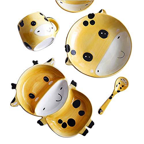 YoungQI Ceramics Porcelain Cartoon kids dishes Set Includes, Kids Cups, Kids Plates, Kids Bowls, Flatware Set, Kids dinnerware set (Yellow ()