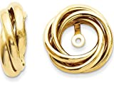 14k Yellow Gold Polished Love Knot Earring Jackets (7mm opening)