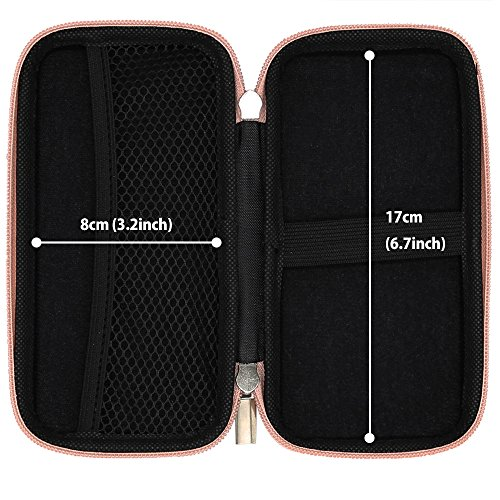 Shockproof Carring Case, iMangoo Hard Protective EVA Case Impact Resistant Travel Power Bank Pouch Bag USB Cable Organizer Sleeve Pocket Accessory Earphone Pouch Smooth Coating Zipper Wallet Rose Gold