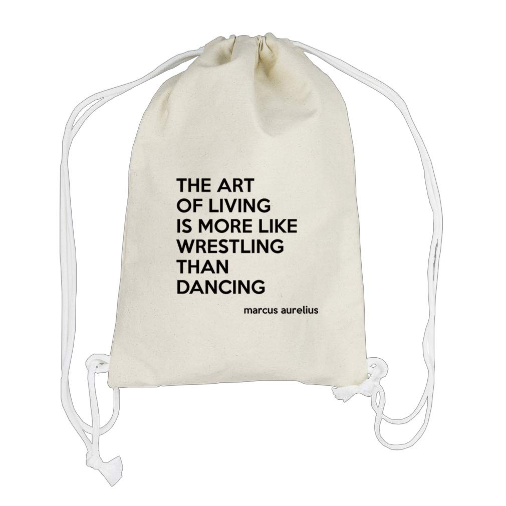 Wrestling Than Dancing (Marcus Aurelius) Cotton Canvas Backpack Drawstring Bag