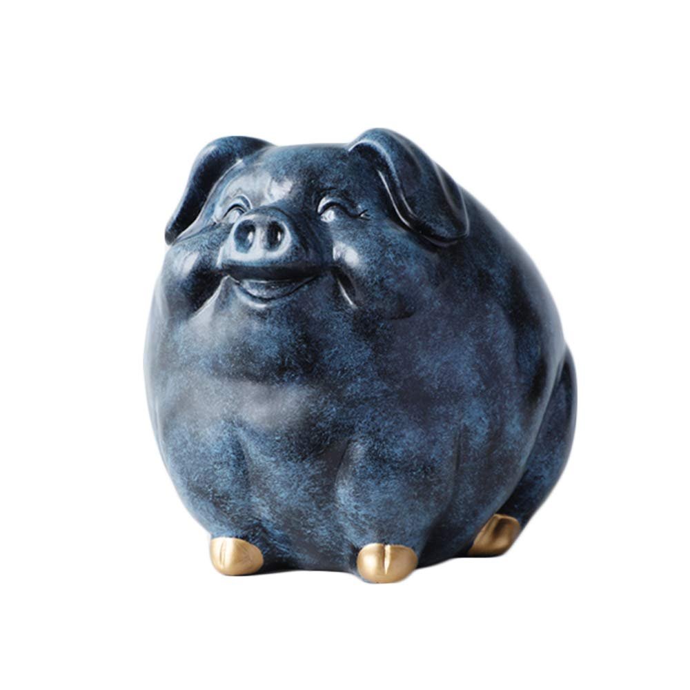 Colias Wing Home Decor Elegant Pig Shape Stylish Design Resin Coin Bank Money Saving Bank Toy Bank Cents Penny Piggy Bank-Pink/Blue/Navy Blue