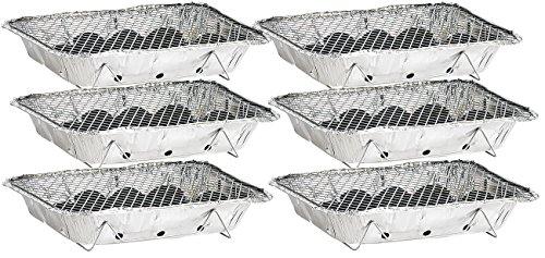 51bMtqKtTwL infactory Einweggrill: Handliche Einweg-Grills mit Kohle und Anzünder, 6er-Set (Minigrill)
