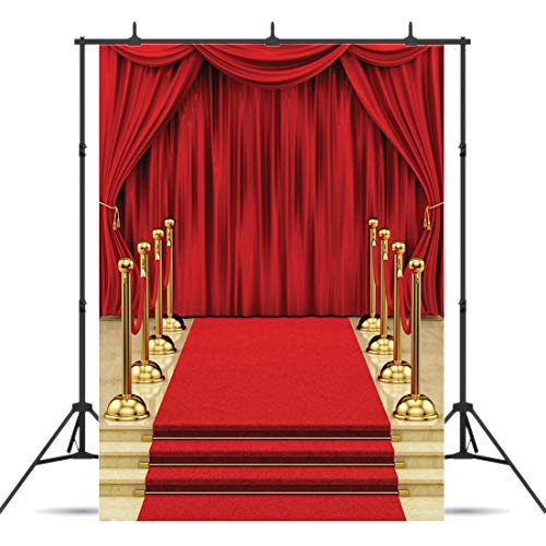 Dudaacvt Backdrop 5x7ft Red Curtain Background Hollywood Red Carpet Stage Backdrop Wedding Party Events Photography Props Seamless Photo Studio Props -
