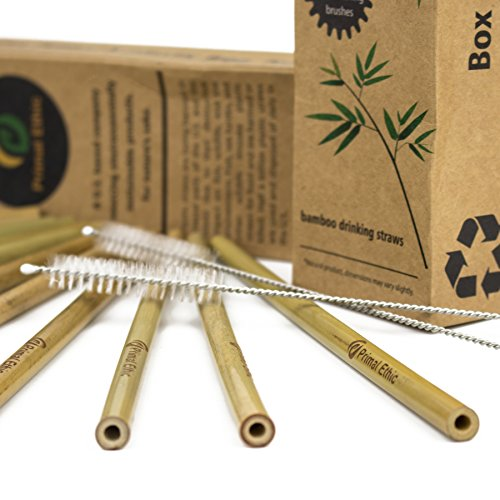 (Reusable Bamboo Drinking Straws by Primal Ethic - Plastic Straw Alternative - Organic, Biodegradable - With 2 Cleaning Brushes & Storage Bag - 20 Pack or 12 Pack in 8 or 9.5 Inch )