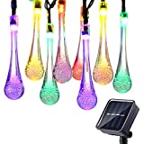 Icicle Solar Christmas String Lights, 15.7ft 8 Light Modes 20 LED Water Drop Fairy String Lighting for Indoor/Outdoor Home, Patio, Lawn, Garden, Party, and Holiday Decorations (Multi-color)