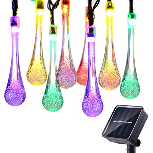 Icicle Solar String Lights, 15.7ft 8 Light Modes 20 LED Water Drop Fairy String Lighting for Indoor/Outdoor Home, Patio, Lawn, Garden, Party, Christmas, and Holiday Decorations (Multi-color) (Patio Christmas Decorations)