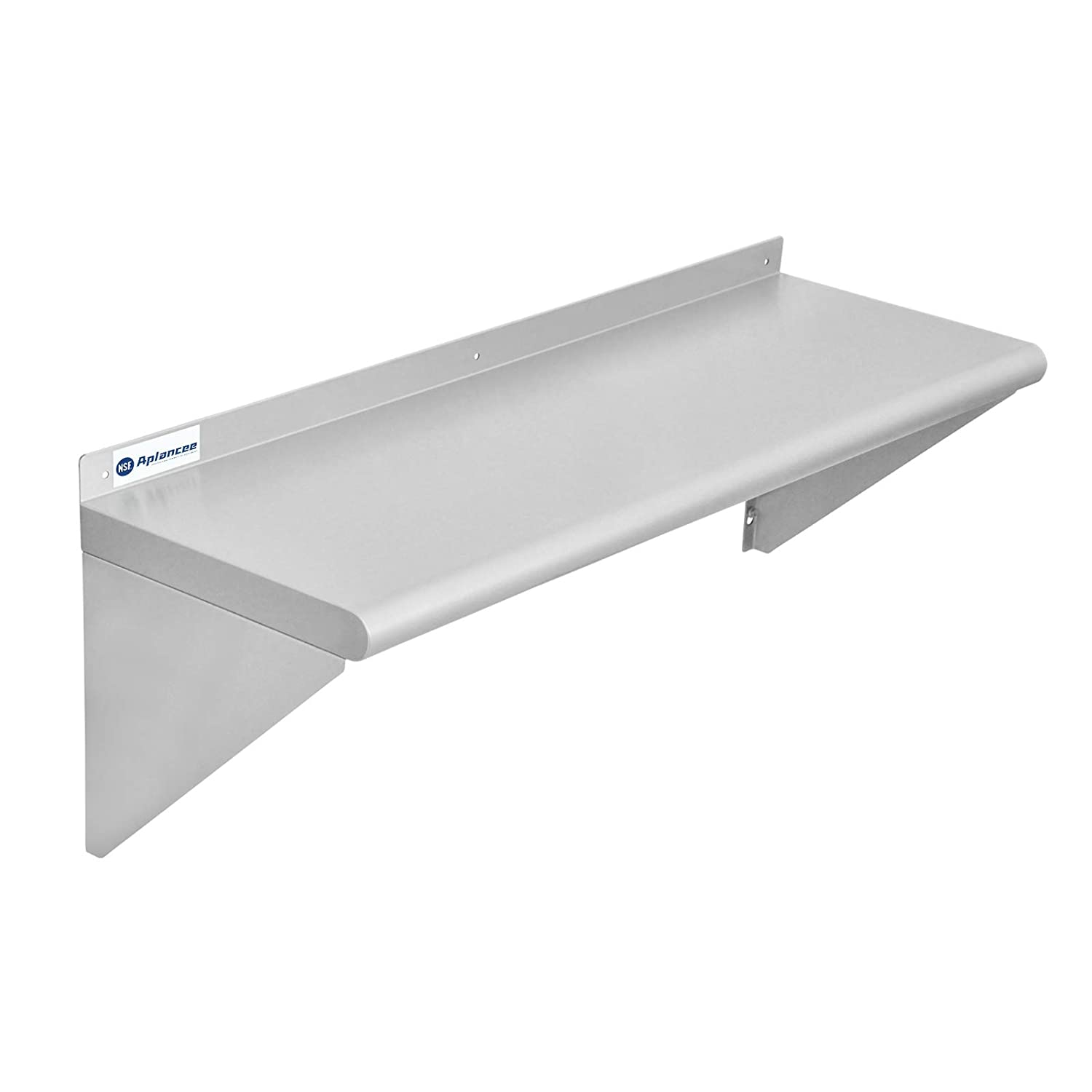 Aplancee Stainless Steel Commercial Shelf w/Backsplash 12x36 Inches Wall Mounted Shelving Rack for Restaurant, Fast Food and Home Kitchen