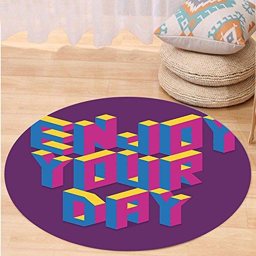 Niasjnfu Chen Custom carpetQuote Decor Motivational Enjoy Your Day Typography in Isometric Inspiration Illustration for Bedroom Living Room Dorm Purple (Inspiration Sisal Rug)
