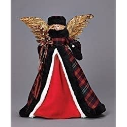 "Roman 31573 16"" Plaid Angel Treetopper"