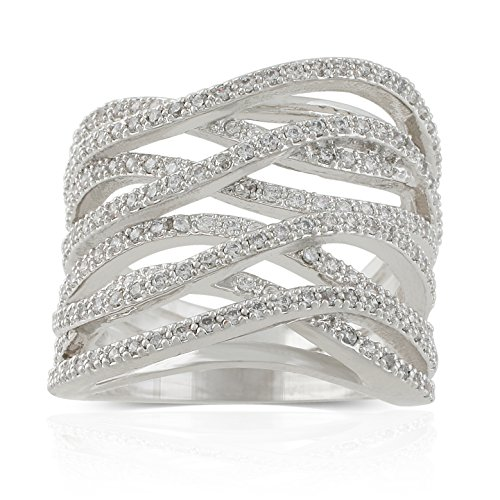 JanKuo Jewelry Rhodium Plated Cubic Zirconia Criss Cross Wide Band Cocktail Ring (Cross Cocktail Ring)