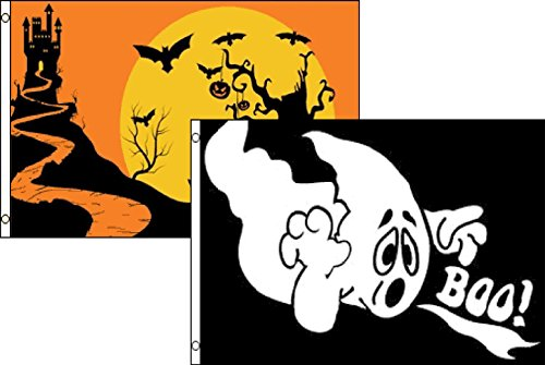 ALBATROS 3 ft x 5 ft Happy Halloween 2 Pack Flag Set Combo #61 Banner Grommets for Home and Parades, Official Party, All Weather Indoors Outdoors]()