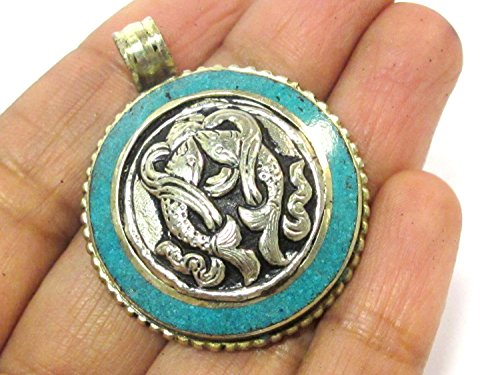 - 1 Pendant - Tibetan two double fish symbol reversible dorje pendant with turquoise inlay - PM611B