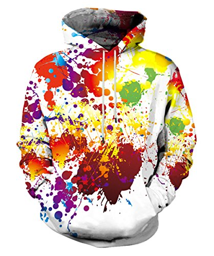 EOWJEED Unisex Realistic 3D Print Galaxy Pullover Hooded Sweatshirt Hoodies Big Pockets
