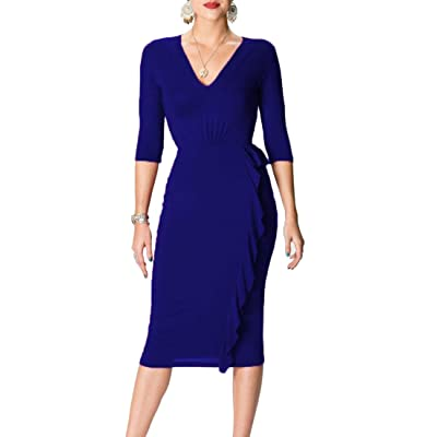 ainr Women's Formal V-neck 1/2 Sleeve Ruched Bodycon Pencil Dress