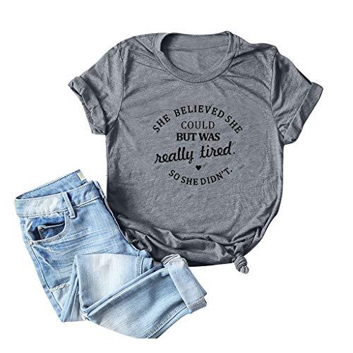 Emimarol Women V Neck Graphic Funny Cute T Shirt Teen Girl Tops Tee Dark Gray ()
