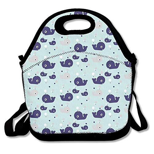 (Whale Of A Pod Unisex Cute Convenient And Easy To Carry Bento Lunch Bag For Picnic Travel Tote Lunch Bag Bento Bag Handy Bag)