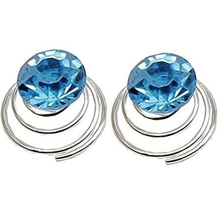 Vococal - 24 x Broches de Pelo de Espiral de Rhinestone con Diseño en Forma de Diamante para los Accesorios de Pelo Novia (Azul): Amazon.es: Belleza