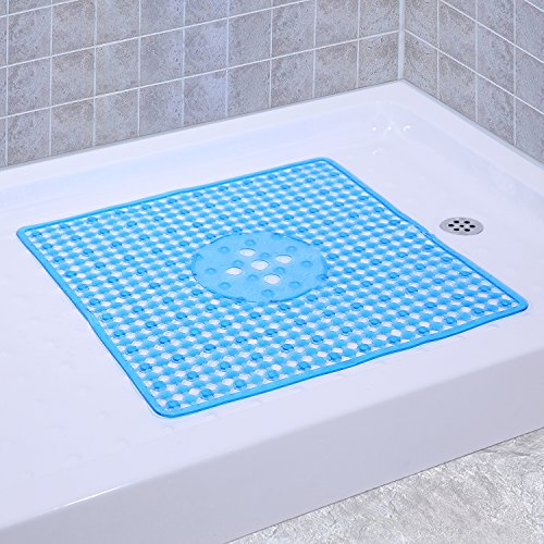 Mat Shower Stall (Non-Slip Shower Mats Square Bath Mat Anti Bacterial Machine Washable with Beauty Modern Design 22 x 22 Inch (Clear Blue))