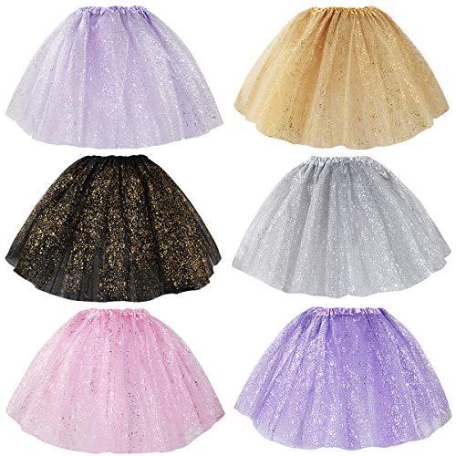 kilofly 6pc Girls Glitter Ballet Tutu Birthday Princess Party Favor Tulle Skirts -