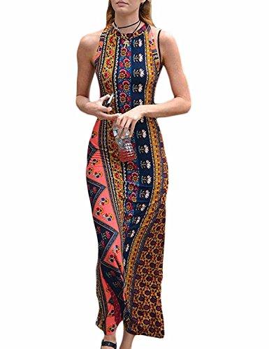 Eshion Women Backless Beach Maxi Floral Print Bodycon Casual Long Dress Boho Halterneck