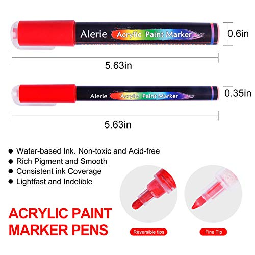 Acrylic Paint Pens - 24 Acrylic Paint Markers for Rock Painting, Stone, Ceramic, Glass, Wood, Fabric, Canvas, Set of 12 Colors Paint Markers with 3 Different Tip