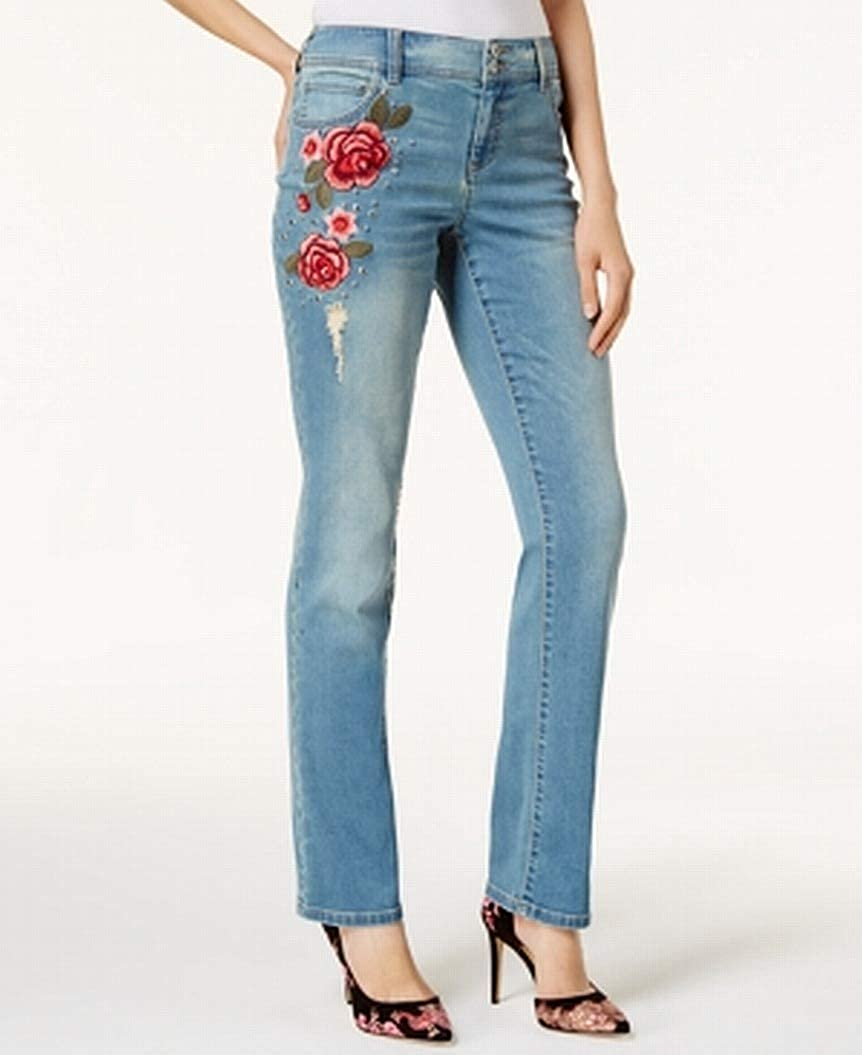Amazon.com: INC Womens Petite Floral Embroidered Stretch Jeans Blue 2P: Clothing