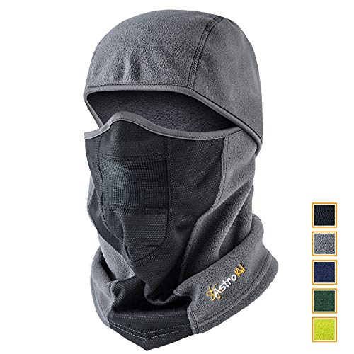 AstroAI Ski Mask Winter Balaclava Windproof Breathable Face Mask for Cold Weather (Superfine Polar Fleece, Gray)