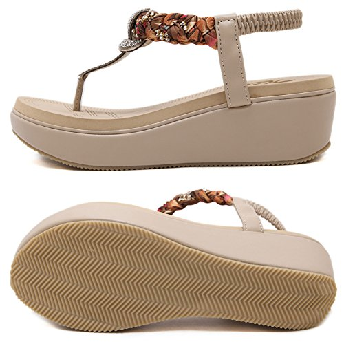 Zicac Women's Round Peep Clip Toe Platform Wedge Heel Rhinestone Elastic T-Strap Bohemia Roman Sandals Flip Flops Shoes Thongs apricot UXkcLZj9dY