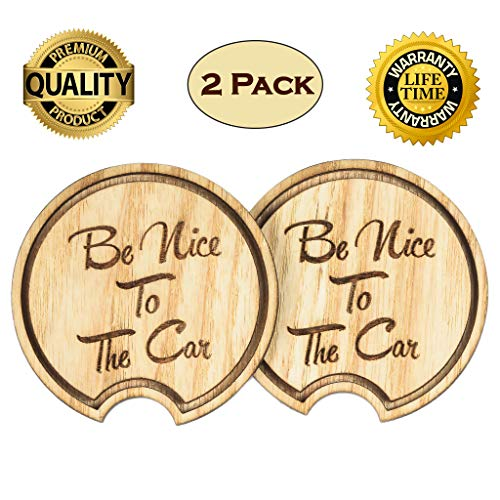 Coaster Diameter - Navady Eco-Friendly Wood Car Coaster Pack of 2 (2.87 Inches Diameter), Large Automotive Cup Holder Coasters for Car, Keep Your Car Cup Holder Clean and Dry, Funny Car Accessories (Cute Quote)