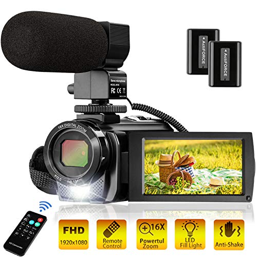 Video Camera Camcorder FHD 1080P 30FPS 24MP YouTube Camera with Microphone 3.0 Inch 270 Degree Rotation 16X Zoom Remote Control Vlogging Digital Video Camera with 2 Batteries (Best Quality Microphone For Youtube)