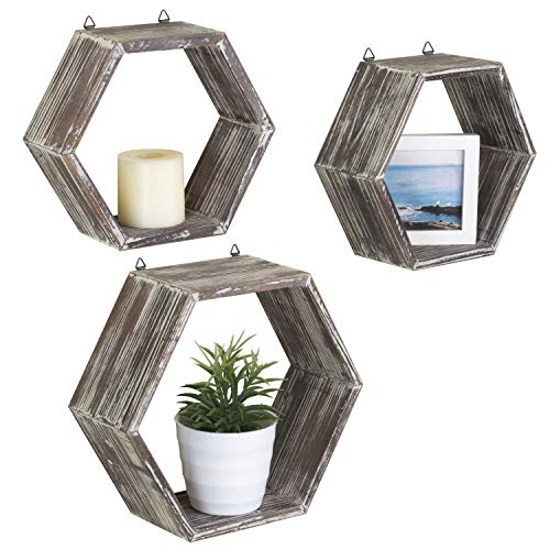 (MyGift Rustic Wall-Mounted Torched Wood Shadow Boxes, Hexagon Display Shelves, Set of 3)