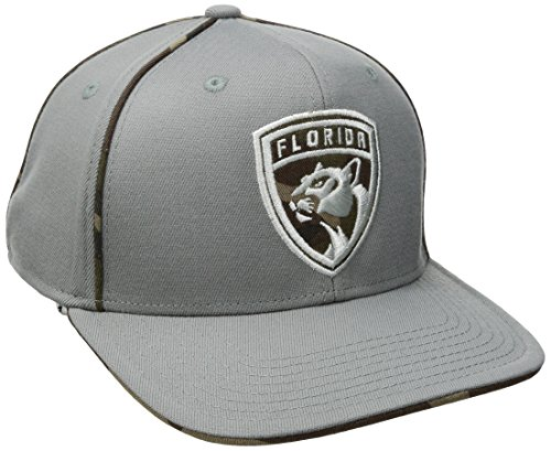 fan products of NHL Florida Panthers Men's SP17 Gray Camo Structured Flex Cap, Gray, Small/Medium